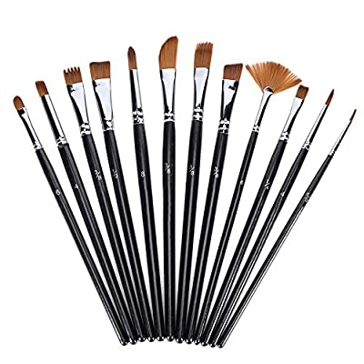 NGWALL Paint Brush Set (Black 12pcs) Round Tip Nylon Hair Stylist Acrylic Watercolor Oil Painting, Easy to Clean