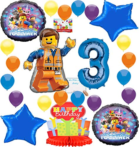 Lego Movie 2 Deluxe Balloon Decoration Bundle for (3rd Birthday)]()