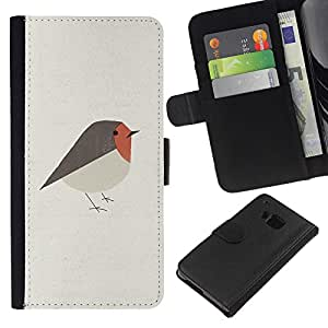 KingStore / Leather Etui en cuir / HTC One M7 / Del arte del pájaro lindo Rojo Gris