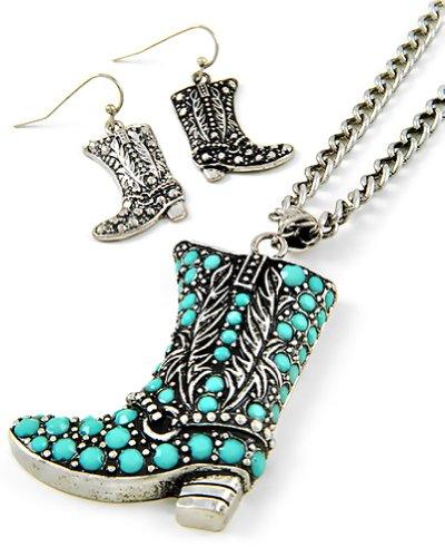Cowboy Boot Aqua Silvertone Pendant Necklace and Earring Set