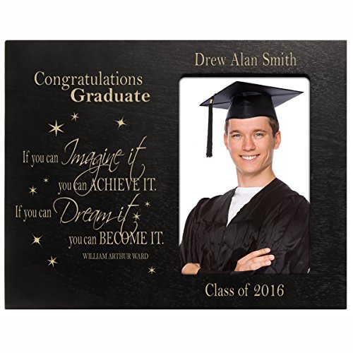 Personalized Graduation Picture gift for 2016 graduate ideas for men and women custom photo frame If you can IMAGINE it you can ACHIEVE IT (Black) Personalized Graduation Frames