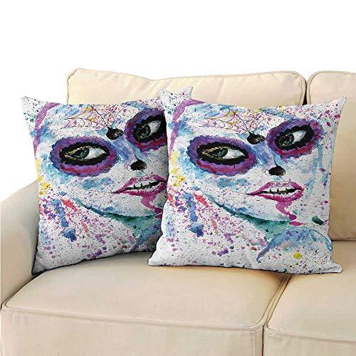Ediyuneth Pillowcases Covers Girls,Grunge Halloween Lady with Sugar Skull Make Up Creepy Dead Face Gothic Woman Artsy,Blue Purple 18