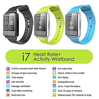 007plus® T5 Plus Smart Bracelet fitness tracker waterproof IP67 sport wrist Bluetooth 4.0 Pedometer Tracking Calorie Health Sleep Monitor Wristband for Android IOS 7.0 8.0 8.1 9.0 Iphone 5s 6 6 Plus(Black)