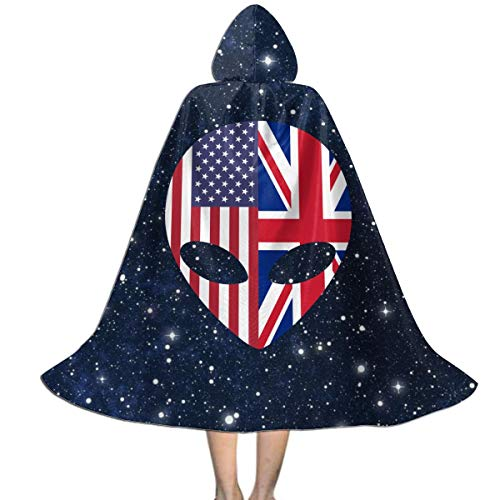 ABY14-YJ Kids Boys Girls Alien American British Flag Long Hooded Cloak Cape for Halloween Party Role Cosplay Costumes ()