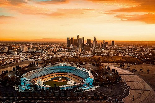 LAMINATED 27x18 inches POSTER: Los Angeles California Dodger Stadium City Urban Sunset Dusk Skyline Cityscape Skyscrapers Buildings Scenic Sports Hdr