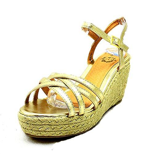 Sandalias de tacón alto metálico de tacón alto de oro Gold