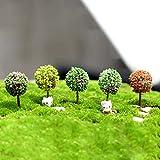 LVOERTUIG 5pcs Model Mini Trees Scenery Bonsai Landscape Fairy Dollhouse Terrarium Garden Ornament Decor Color Random(5pcs,Random)