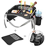 #4: Kids Travel Tray EocuSun Childrens Snack Play Trays with Mesh Pockets and Cup Holders for Car Seats Snacks Bus Train and Plane Journeys (Black)