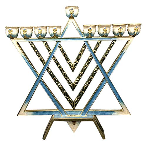 Quality Judaica Enameled Hanukkah Menorah with Jeweled Accents - Large Jewish Star, Blue & White