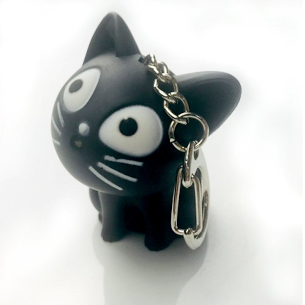 LED Cute kitty Cat Keychain with sound and flashlight lover gift child Toy -black