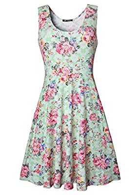 Womens Casual Fit and Flare Floral Sleeveless Party Evening Cocktail Dress
