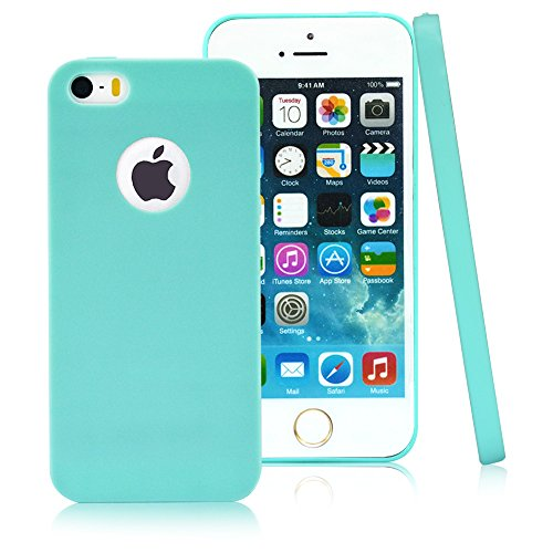 UDS [Jelly Colorful Series] Ultra Slim Lightweight Classic Design Durable Soft Rubber TPU Silicone Gel New Case Cover for Apple iPhone 5s/5 - with a HD Protector - Candy Green (Style Silicone Rubber Case)