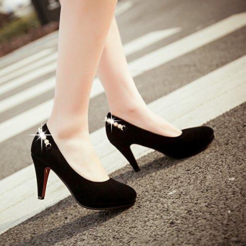Beaded Women's Heel Show High Slide Shoes Shine Pumps Black Platform RU5xwT