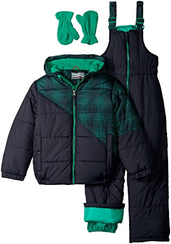 Hawke & Co. Little Boys' Toddler 2 Piece Snow Suit with Optic Dot Print and Bib Pant, Atlantic, 3T