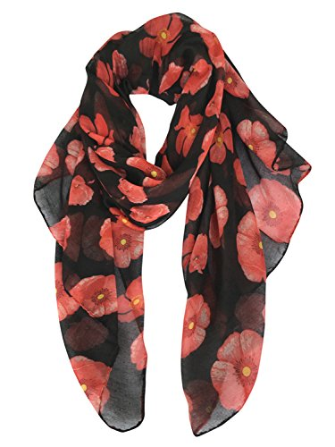GERINLY - Lightweight Poppy Flower Print Oblong Scarf (Black)