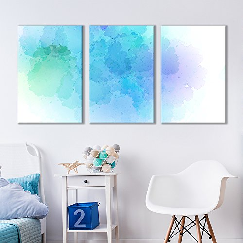 - wall26 - 3 Panel Canvas Wall Art - Faded Aqua Cloud Soft Watercolor Painting Decor - Giclee Print Gallery Wrap Modern Home Decor Ready to Hang - 16