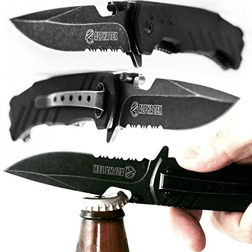 ALPHA TEK Serrated Spring Assisted Knife with Bottle Opener - Black