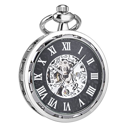 SIBOSUN Steampunk Transparent Open Face Pocket Watch for Men Women Silver Black Skeleton with Chain + Box