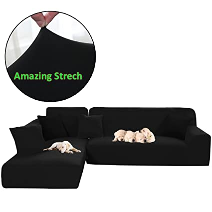 Taiyucover Stretch L Shaped Sofa Slipcover;2PCS Sectional Sofa Cover;  Furniture Protectors For