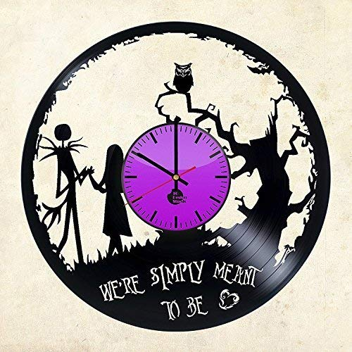 Jack Skellington and Sally Handmade Design Vinyl Record Wall Clock Unique gifts for him her Gift Ideas for Mothers Day Father birthday anniversary wedding cute and original gifts for -