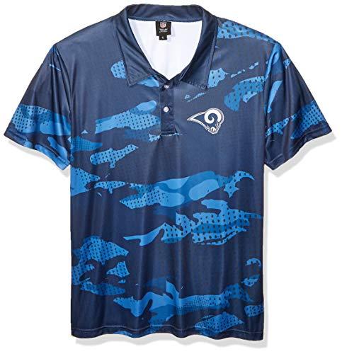 FOCO NFL Los Angeles Rams Mens Printed Camo Polo ShirtPrinted Camo Polo Shirt, Team Color, XL