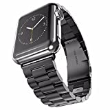 Apple Watch Band 42mm Stainless Steel Wristband Metal Buckle Clasp iWatch Strap Replacement Bracelet for Apple Watch Series 3/2/1 Sports Edition 42mm Black (Black, 42MM)