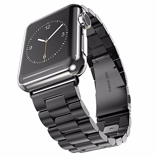 (U191U Band Compatible with Apple Watch 42mm Stainless Steel Wristband Metal Buckle Clasp iWatch Strap Replacement Bracelet for Apple Watch Series 3/2/1 Sports Edition (Black, 42MM))