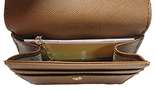 Michael Kors Jet Set Travel Leather Card Case, ID and Key Holder Wallet (Luggage)