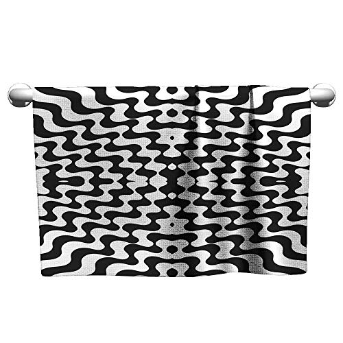 Tankcsard Cute Hand Towels Seamless Pattern Striped Background Repeating Black-White Wallpaper Vintage Lines,Hooded Towel for Kids