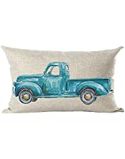 ramirar Ink Oil Painting Watercolor Blue Pickup Truck Decorative Lumbar Throw Pillow Cover Case Cushion Home Living Room Bed Sofa Car Cotton Linen Rectangular 12 x 20 Inches