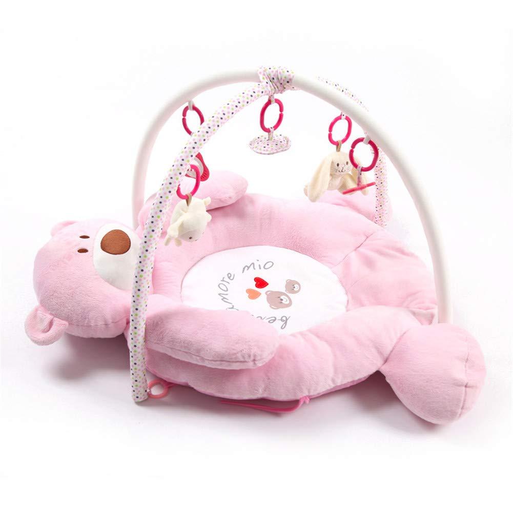 JLCP Baby Luxury Gym Play, Neugeborene Aktivität Gym Puzzle Frühes Lernzentrum Musik Krabbeln Decke Fitness Rack Spielzeugkiste,Rosa Rosa