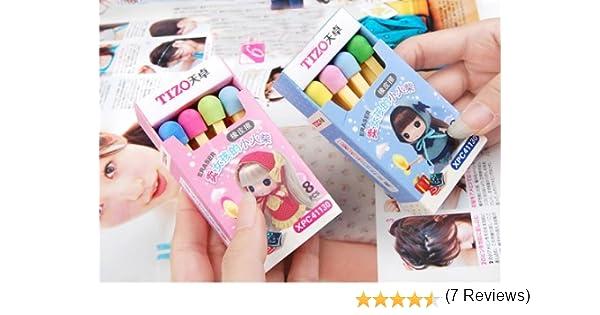 Kawaii Tizo 8 Colores Partidos Sticks Borrador en Azul o Rosa Caja ...
