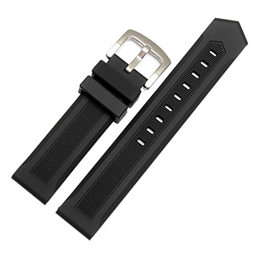 20mm Formula 1 Black Rubber Watch Strap - Rubber Heuer Tag Strap