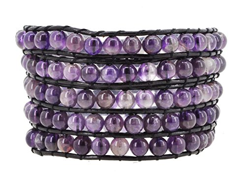 Amethyst Double Strand (Womens Leather Simulated Amethyst Leather Wrap Bracelet (Stone Beads))