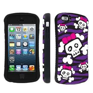 NakedShield Apple iphone 5C / 5S / 5 Black Purple Zebra Skull Heavy Duty Shock Proof Armor Art Phone Case