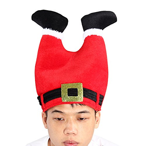 Evaliana Red Christmas Hat Xmas Cap Costume Santa Claus Legs Padded Thanksgiving ()