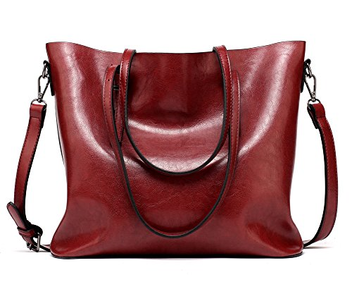 Body Large Shopping Bags Shoulder red Capacity Leather Wine Women's FNTSIC Red Handbags Dark Tote Handle PU Bags Top Bags Classic Ladies Bags Elegant Bags Cross aH6awpFq