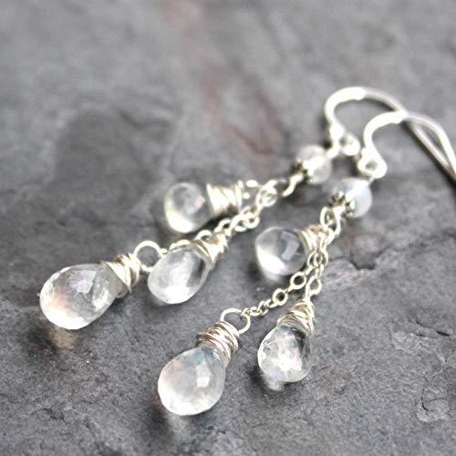 Moonstone White Earrings - Rainbow Moonstone Earrings Sterling Silver White Gemstone Dangle Cascade