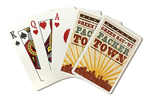 - Green Bay, Wisconsin - Skyline and Sunburst Screenprint Style (Playing Card Deck - 52 Card Poker Size with Jokers)