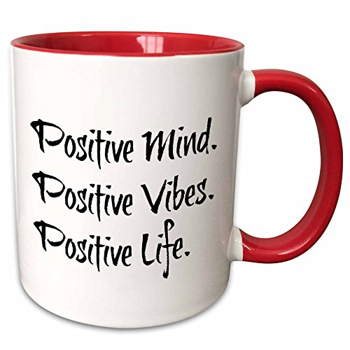 Xander inspirational quotes - positive mind positive vibes positive life black letters on white back - 11oz Two-Tone Red Mug (mug_201948_5) (Positive Quote Mugs compare prices)
