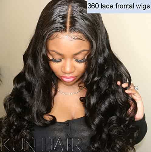 Human Hair Lace Wigs Lace Wigs Beautyforever Peruvian Kinky Straight 360 Lace Front Wigs Half Hand Tied 100% Remy Human Hair Wig 150% Density Natural Color