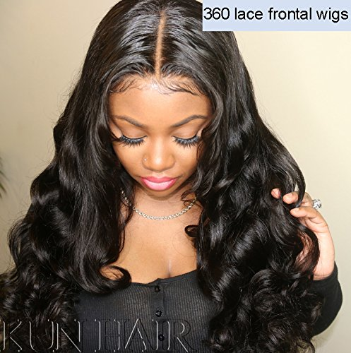 360 Lace Wigs Pre Plucked Human Hair Wigs for Women 150% Density Loose Wave 360 Frontal Wigs for High Ponytail and Updo Brazilian Remy Long Wavy Human Wigs with Baby Hair Natural Color 20 inches ()