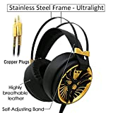 MarkFive MK3 High Quality Light and Comfortable Gaming Stereo Headset Hi-Fi Gaming Over-ear Headphones Black Gold Color with Internal Mic for PC Labtop Xbox PS4