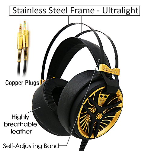 51bY2H2MBCL - MarkFive-MK3-High-Quality-Light-and-Comfortable-Gaming-Stereo-Headset-Hi-Fi-Gaming-Over-ear-Headphones-Black-Gold-Color-with-Internal-Mic-for-PC-Labtop-Xbox-PS4