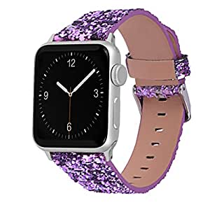 Glitter Apple watch band, Wolait Luxury PU Leather Wristband Replacement Strap for Apple Watch Series 3/2/1 (42mm Purple)