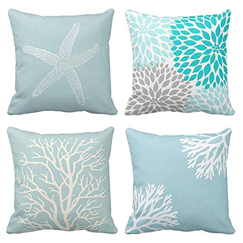 Jbralid Blue White Coral Sea Green Star Vintage Starfish Pastel Seafoam Cotton Linen Indoor Decor Throw Pillow Cover Case Set of 4, 22x22 in