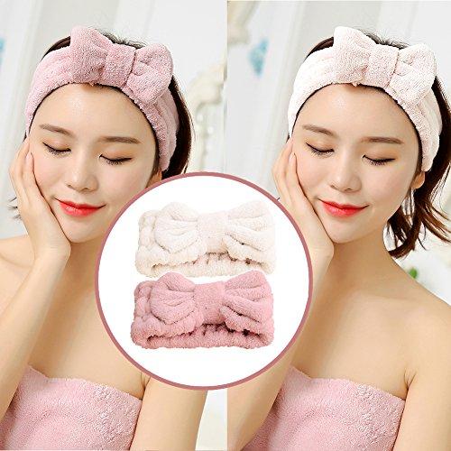 Jseng Microfiber Bowtie Women Beauty Headbands, Extrame Soft & Ultra Absorbent, Comfort to Wash Makeup Shower Facial Skincare Spa Thick Hair Band for Girls (Beige+Pink) 3