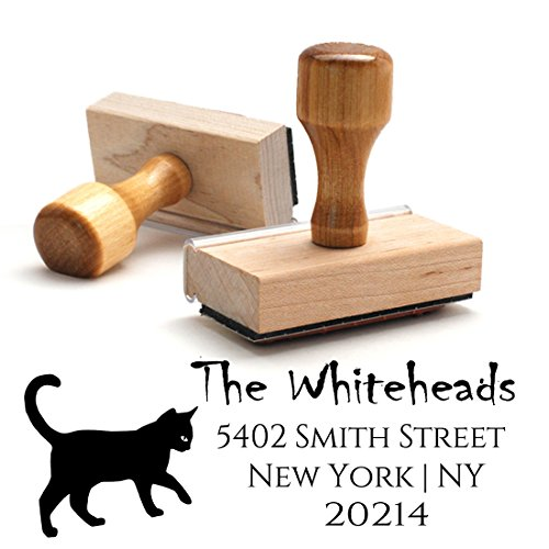 Traditional Wooden Handle Stamp Halloween Cat Return Address Mail Stamper Custom Personalized Address Large 4 Lines Professional Wedding Gift Invitation (Halloween Cats Names)