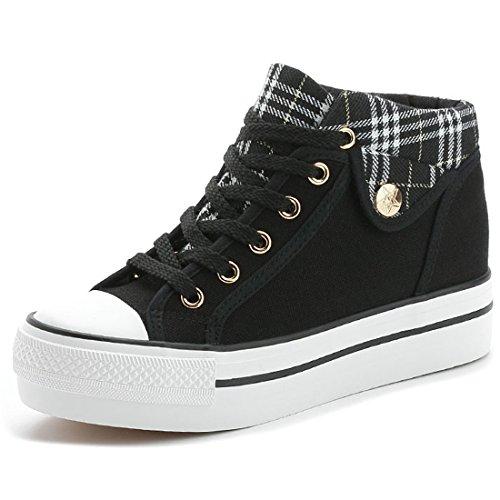 Indie Height Gym Platform Retro Lace Shoes Canvas Ladies Vintage increasing Low Top Style VECJUNIA Black Up Sneakers 0pqxvHfOnw