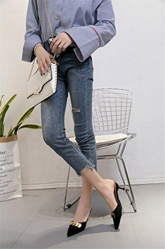 de de Baotou Moda Zapatillas Negro Alto tacón Pantuflas acentuadas Medias Femenina Ixqw0wO7f